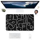 HUBNYO Líneas blancas y negras - Alfombrilla de escritorio de piel para oficina, superficie lisa, fácil de limpiar, resistente al agua, protector de escritorio para la oficina/juegos en el hogar