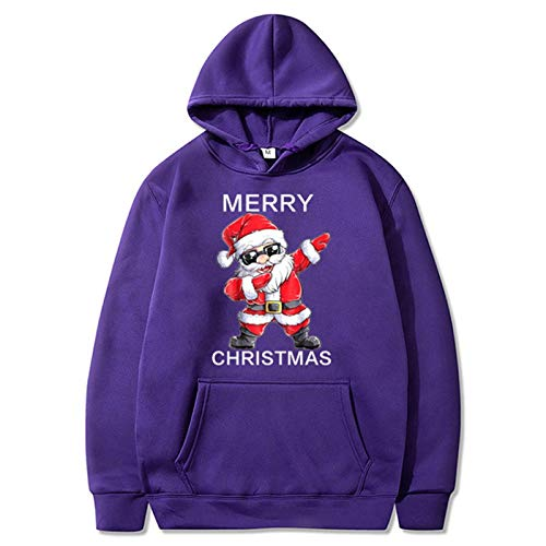 HOUHOU Christmas 3D Print Hooded Sweater Unisex Men Women Dabbing Santa Claus Christmas Novelty Ugly Christmas Warm Sweater Sweater (Color : Purple, Size : XXL)