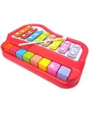 Popsugar 2 in 1 Xylophone and Piano Toy with Colorful Keys for Toddlers and Kids