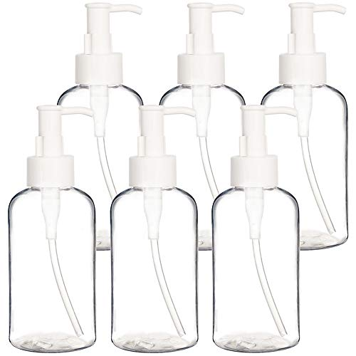 Youngever 6 Pack Plastic Pump Bottles 8 Ounce, Refillable Plastic Pump Bottles with Travel Lock for Dispensing Lotions, Shampoos, Hand Sanitizer