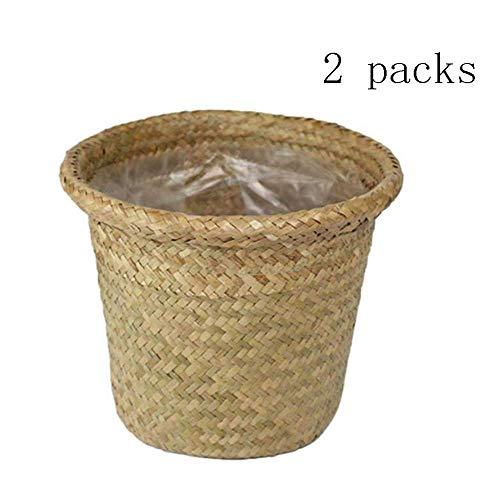 Handgemaakte Zeewier Flower Basket Vase Renaissance Straw Individuele planter Opvouwbare Plant Container Straw rieten mand Basket Garden Flower Pot (Natuur) zhihao (Color : Nature)