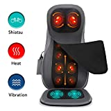 Naipo Shiatsu Back Massager Seat Massage Chair Pad Hip Back Neck Massager Pain Relief with Adjustable Heat...