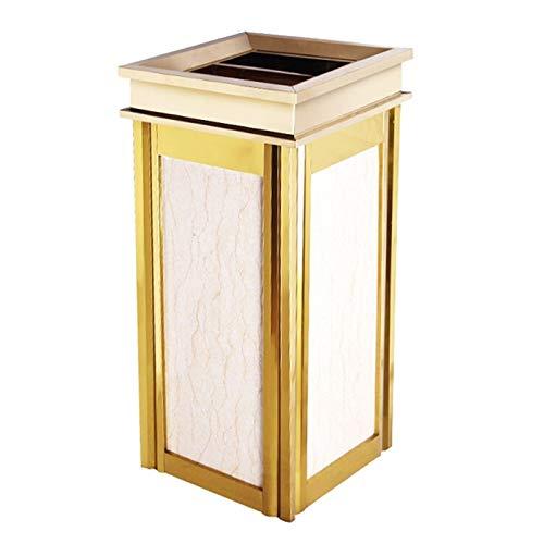 ZHONGTAI Mülleimer Marmor-Quadrat-Mülleimer mit Aschenbecher, Edelstahl-Mülleimer-Inneneimer für Innen-, Außen- oder Handelsgebrauch Schwingdeckeleimer (Color : Beige)