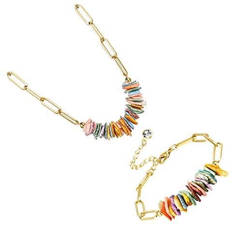Holibanna 2 Piezas de Collar de Cadena de Oro Pulseras de Concha Colorida Pulseras de Playa Bohemia Oro Delicado Clip Cadena de Enlace Collar de Verano Fiesta de Playa Favores