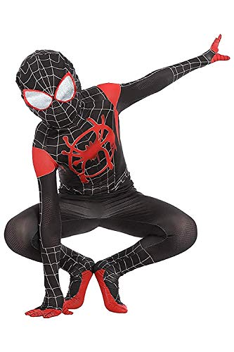 Kids Toddler Spider Verse Miles Morales Gwen Jumpsuit Bodysuit Black Spider Tights Zentai Costume (Miles Morales, Child XL/130-140 cm)