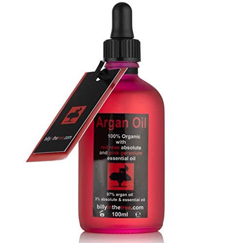 Huile d'argan pure avec absolu de rose rouge et huile essentielle de géranium rose 100 % bio 100 ml pour le visage, le corps, les cheveux
