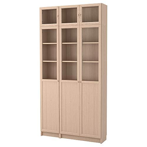 BILLY/OXBERG estantería combinación/puertas de vidrio 120x30x237 cm blanco manchado roble chapa/vidrio