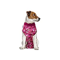 Yellow Labrador wearing a pink camo Suitical Surgical Suit for dogs.