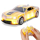 Liberty Imports Light Up RC Remote Control Racing Car - 1:20 Scale Radio Control Car with Flashing LED Lights - Ideal Gift Toy for Kids (Yellow)