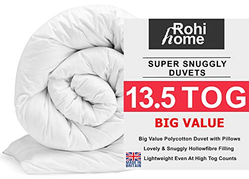 ROHI Basics Duvet & 2 Deluxe Pillows - Single, Double, King & Super King - 4.5/10.5/13.5/15 TOGS - MULTIPLE PACK OFFER!! BEST PRICE & QUALITY ON AMAZON!! (Soft Polycotton, 13.5 Tog Single Duvet & Pillow Pair (Autumn))