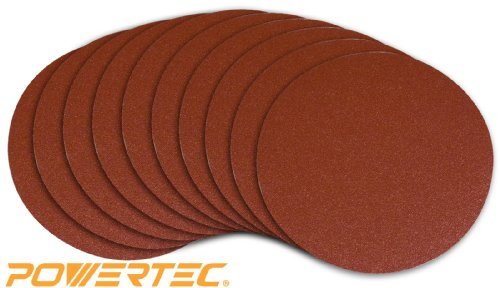 POWERTEC 110560 8-Inch PSA 120 Grit Aluminum Oxide Adhesive Sanding Disc, 10-Pack