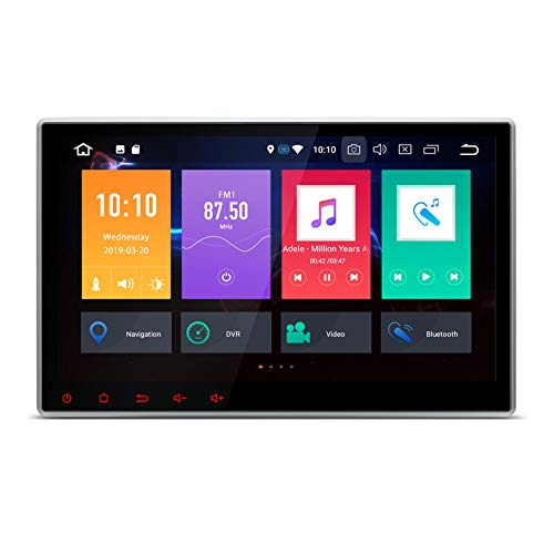 XTRONS 10.1 Inch Android 9.0 Car Stereo Radio DVD Player Universal Double Din GPS Navigator Octa Core 4G RAM 64G ROM Multi-Touch Screen Adjustable Viewing Angles Head Unit Supports OBD2 TPMS WiFi