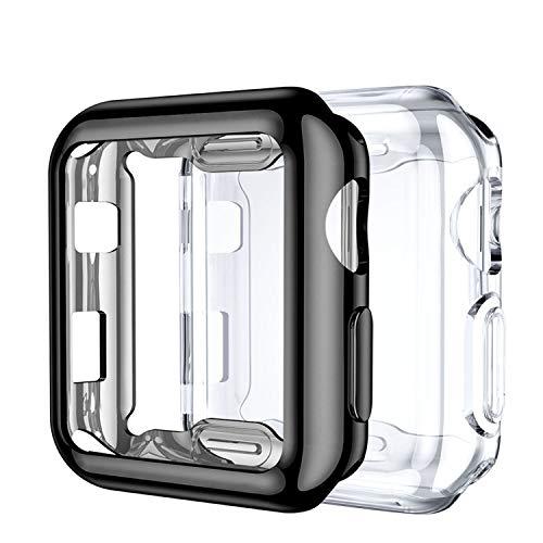 Upeak Compatibile con Apple Watch Series 3 Custodia 42mm, 2 Pacchi Protettiva in Morbido TPU Compatibile con iWatch Series 1/2/3, Chiaro/Nero