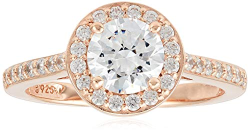 Rose-Gold-Plated Sterling Silver Round-Cut Halo Ring made with Swarovski Zirconia, Size 7