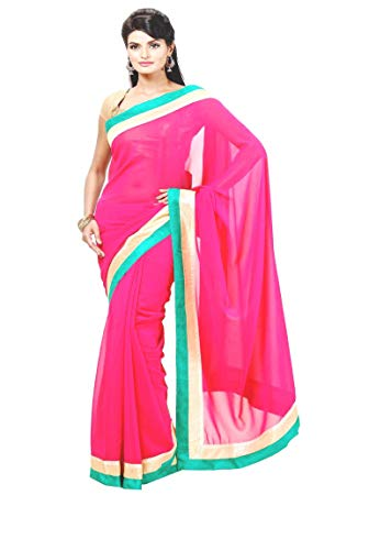 Indische Bollywood Hochzeit Saree indische ethnische Hochzeit Sari neue Kleid Damen lässig Tuch Geburtstag Ernte Top Mädchen Frauen schlicht traditionelle Party Wear Readymade Kostüm (red pink)