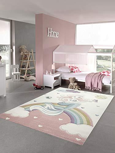 Kinderteppich Meerjungfrau Kinderzimmer Teppich Prinzessin Pastell Größe 80x150 cm