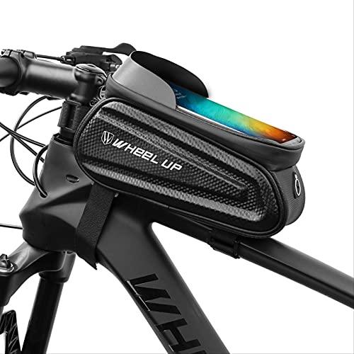 Bolsa De Marco De Bicicleta, Bolsa Impermeable Del Manillar De La Bicicleta Con Pantalla Táctil Y Visera, Bolsa De Teléfono De Bicicleta De Gran Capacidad (6,5 Pulgadas Para El Iphone Samsung Y Otros
