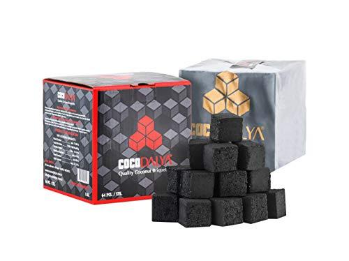 CocoDalya Coconut Hookah Coals Charcoals - 72 Count Cubes (1kg)