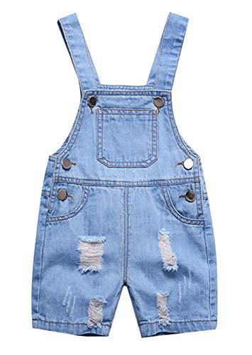 Happy Cherry - Kinderlatzhose Baby Jumpsuit Overall Denim Kurz Sommer Hose Baumwolle Latzhose - 18-24 Monate