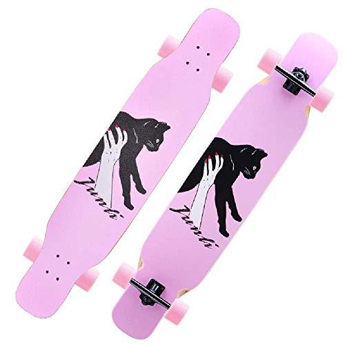 Generic Komplette Longboard Skateboards 8 Schichten Maple Decks Skateboarding für Jugendliche Erwachsene Extremsportarten im Freien 118x24x11cm