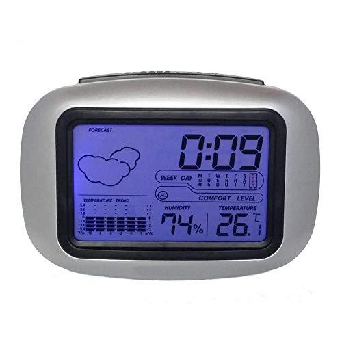 Tabla reloj de escritorio de alarma de reloj, de origen Estación meteorológica con temperatura termómetro higrómetro higrómetro de alarma ajustable Reloj, Mesilla de noche, escritorio, estante jianyou