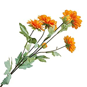 MuYiYi11 1 Pcs 6-Head Artificial Fake Cloth Dahlia Flowers with Leaves Home Decoration Fake Flowers Simulation Dahlias Wedding Road Guide Orange