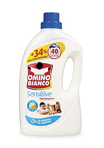 Omino Bianco - Detergente Lavadora Líquido Sensitive, Detergente Hipoalergénico, Sin Alérgenos, Sin Colorantes, 40 Dosis, 2000ml