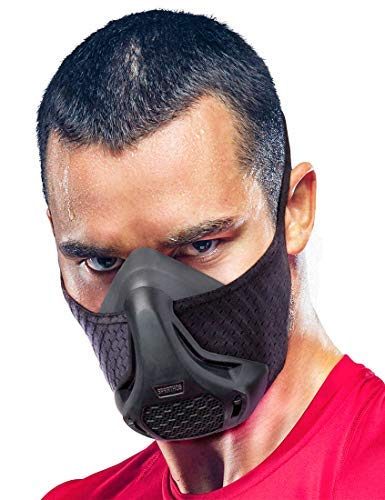 Sparthos Training Mask High Altitude Mask - for Gym Workouts, Running, Cycling, Elevation, Cardio - Fitness Training Mask - Hypoxic Resistance o2 2 3 - Lung Breathing Exercise [Black + Case]