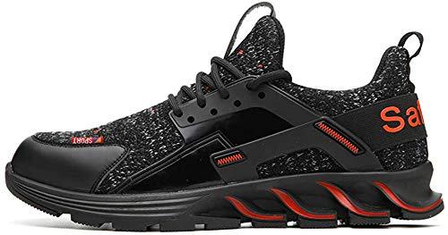 TQGOLD Scarpe da Lavoro con Punta in Acciaio Uomo Donna Scarpe Antinfortunistiche Leggere Sportive Traspiranti Sneaker da Lavoro(Nero Rosso,Taglia 41EU)