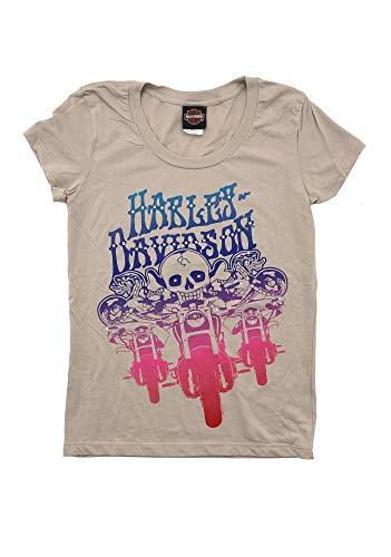 HARLEY-DAVIDSON Original HD Damen T-Shirt für Biker - Trio Skull Rider Harley T-Shirt für Biker Ladys - beige-Sand, Größe:S