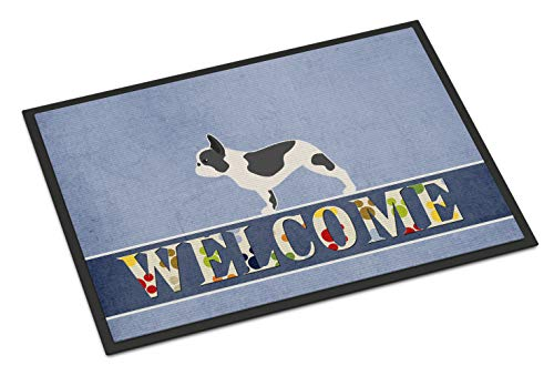 Caroline's Treasures BB5545MAT French Bulldog Welcome Indoor or Outdoor Mat 18x27, 18H X 27W, Multicolor