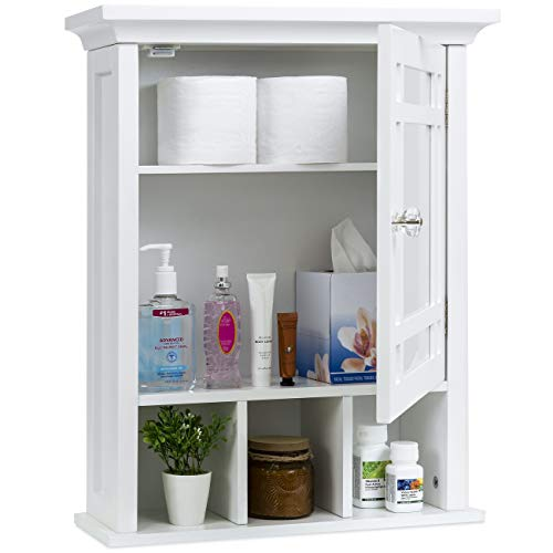 Best Choice Products Home Bathroom Vanity Mirror Wall Organizational Storage Cabinet - White