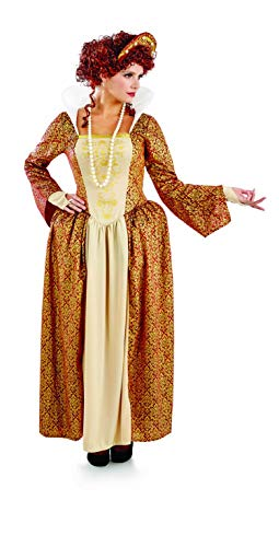 Womens Gold Tudor Costume Adults Historical Queen Dress Princess Gown - XX-Large