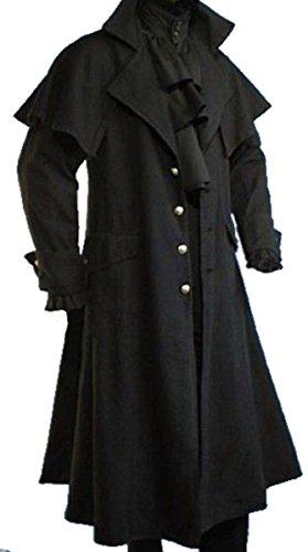 Dark Dreams Gothic Mittelalter LARP Mantel Vampir Kutscher Coat Jacke Van Helsing schwarz (Achtung fällt eine Nummer Kleiner als üblich aus!), Farbe:schwarz, Größe:XXXL