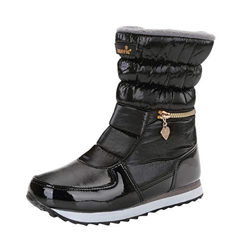 Andouy Damen Winter Warm Gefüttert Schneestiefel Wasserdicht Mid Calf Boots Outdoor mit Plattform(38 EU,Schwarz)