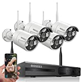 【Expandable 8CH&Audio】OOSSXX 8-Channel HD 1080P Wireless Security Camera System(IP Wireless WiFi NVR Kits),4Pcs