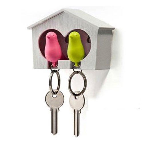 Gleader DUO houten huis Sparrow Bird sleutelhanger + sleutelhouder + fluitje - groen/roze vogel