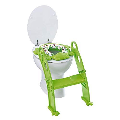 babywalz Toiletten-Trainer Frosch - WC-Training mit seitlichen Haltegriffen, verstellbarer Stufe - gepolsterte Auflage mit Spritzschutz - grün