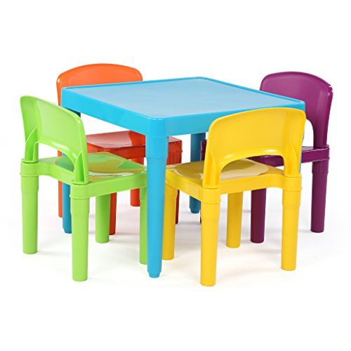 Tot Tutors Kids Plastic Table and 4 Chairs Set, Blue Vibrant