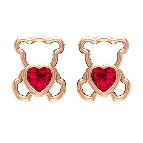 Rosec Jewels 750 oro rosa corazón Red rubí artificial