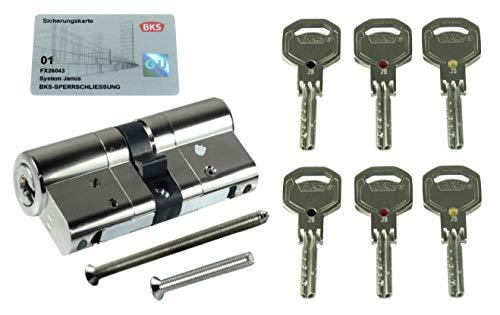 BKS Sicherheits Profilzylinder Janus Serie 46 (Sonderedition Schwarz/Rot/Gold), incl. 6 Schlüssel, Baulänge: 40/40 mm mit Not und Gefahrenfunktion incl. SN-TEC Montagematerial