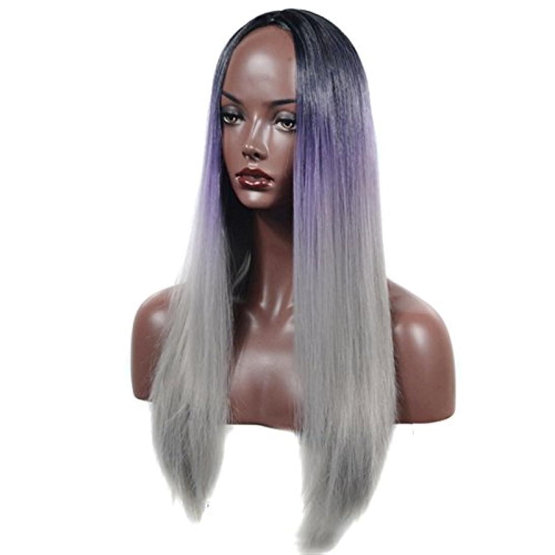 BOBIDYEE ロングストレートウィッグ60センチ - コスプ??レウィッグブラック&パープル&グレーコスプレデイリーパーティーかつら本物の髪として自然な合成髪レースかつらロールプレイングかつらの3色グラデーション (色 : Three-color gradient)