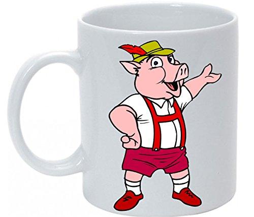 Ann Susan Kaffeetasse bedruckt mit Schwein mit Latzhose oder individuell nach Ihren Wünschen gestaltbar