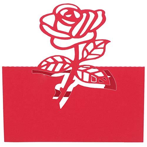 Naliovker 60x Rose Papier Hochzeit Tisch Nummern Tisch Karte Begleiten Namen Karten FüR Hochzeit Dekoration Rot