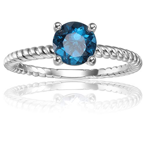 London Blue Topaz Round 6mm Gemstone Solitaire Sterling Silver Ring (P)