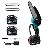 Mini Chainsaw - MagicFox 6-Inch Cordless Power Chain Saw, Portable 36V 4.0Ah Battery Chainsaws, 1.2KG One Hand Electric Chainsaw for Garden Bush Tree Branch Pruning Shears Wood Cutting (Blue)