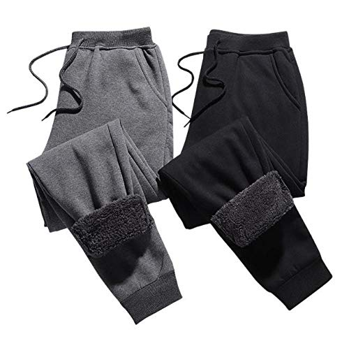Winter Brushed Pants Men sThick Camo Casual Trousers Straight Loose Fashion Sweatpants 5XL Men Bottoms Joggers-Grey_5XL