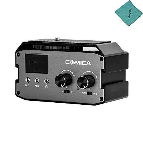 CoMica CVM-AX3 XLR-Audio-Mischpult-Adapter Vorverstärker Dual XLR / 6,35 mm / 3,5 mm Mikrofon-Audio-Mischpult-Unterstützung Mikrofon Echtzeitüberwachung für Canon Nikon Sony Panasonic
