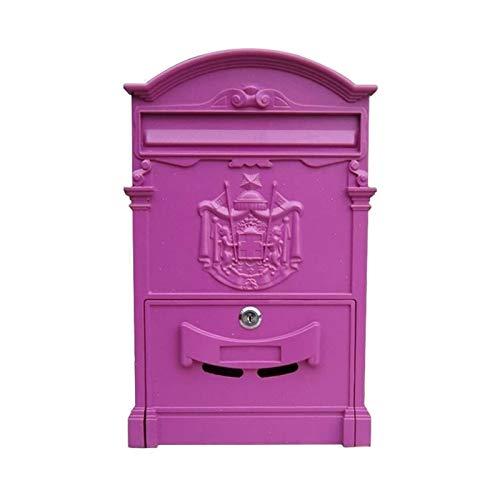 LLCY Vintage Brief Postfach Postfach Briefbox Antike Metallic Für Wallmount, Cast Aluminium 26x8x41cm Briefkasten (Color : Purple)