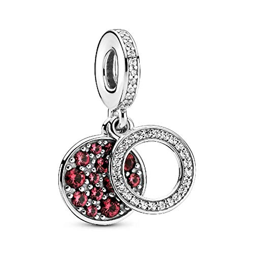 Pandora Charm 925 Sterling Silver Red Zircon Doble Original Pulsera Brazalete Fabricación De Moda Diy Joyería Para Mujeres Hermosa Mujer Regalo Conmemorativo